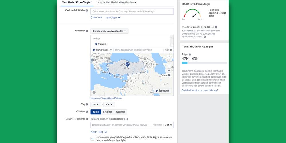 Sosyal Medya Pazarlama Nedir? Adım Adım Kılavuz : Facebook Reklamları Hedef Kitle Seçimi