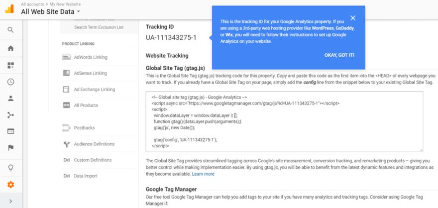 Google Analitik Global Site Etiketi alma
