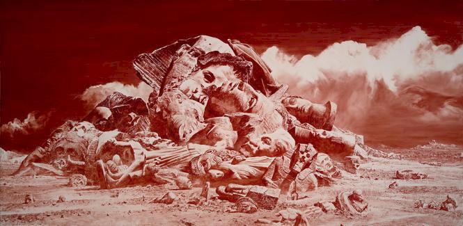 Amerikalı ressam Mark Tansey'in Manzara resmi