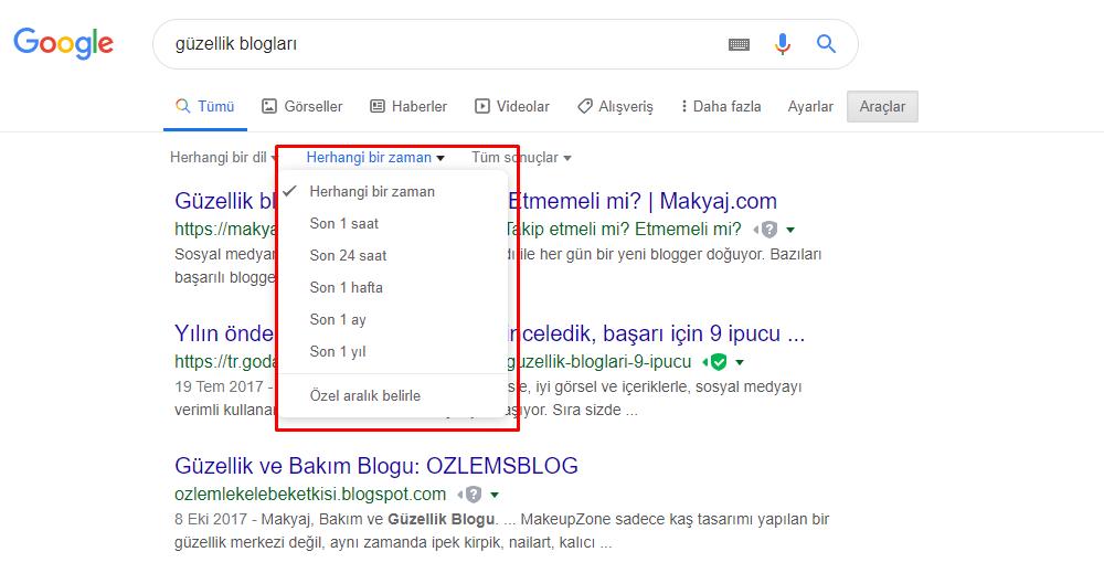 Google aramalarda zaman