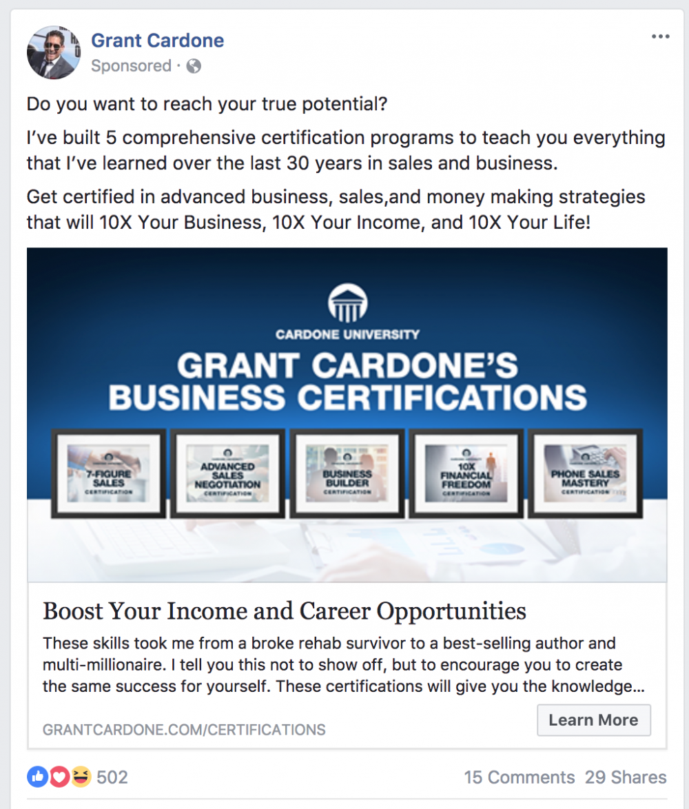 Grant Cardone content marketing