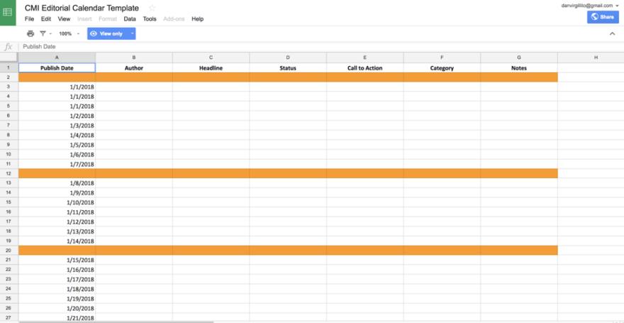 İçerik Pazarlama Enstitüsü'nün Excel Takvimi