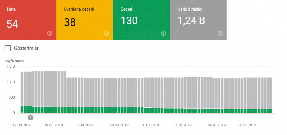 Search console dizin raporu