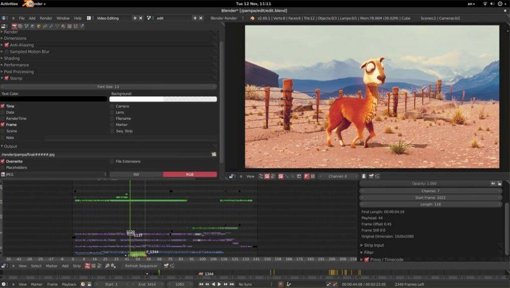 Video düzenleme programları : Blender