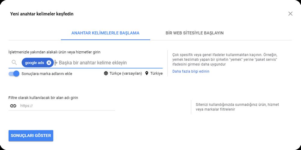 google ads anahtar kelime araştırması 1 adım
