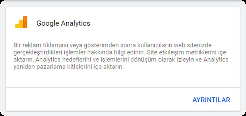 Google Analytics hesabını reklam hesabına bağlama