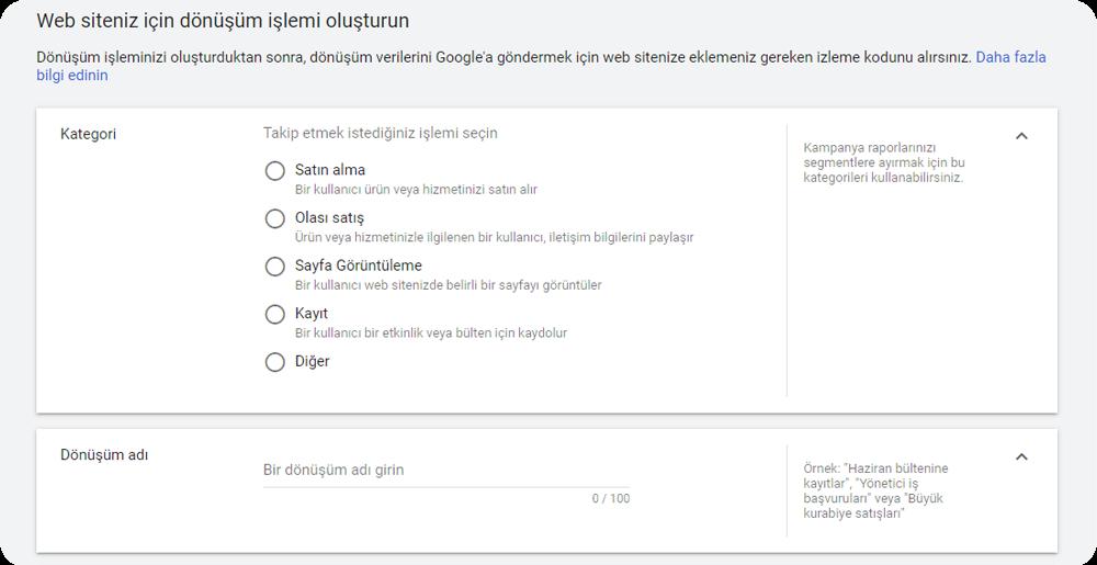 google ads dönüşüm izleme oluşturma