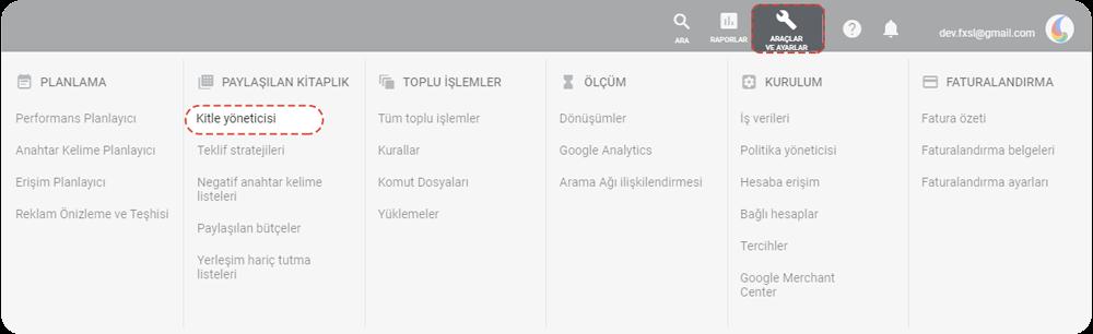 Google Ads kontrol paneli Kitle Yöneticisi