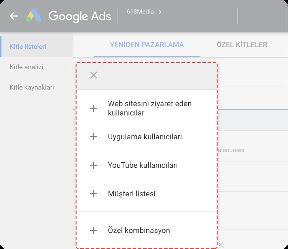 Google Ads'te yeniden pazarlama
