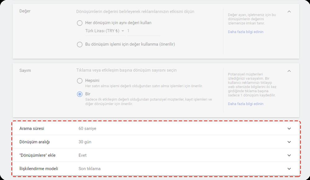 google ads Arama uzunluğu ve dönüşüm raporuna dahil etme