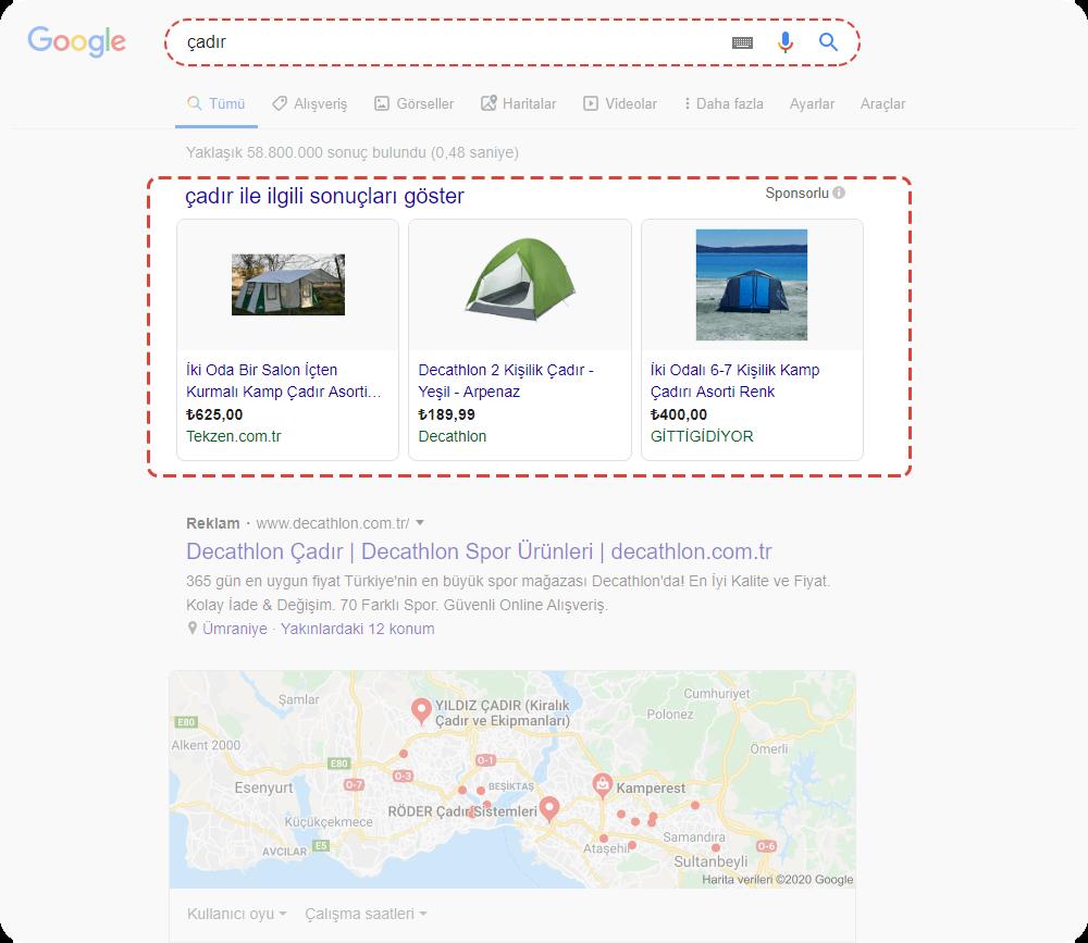 google ads alışveriş reklamları