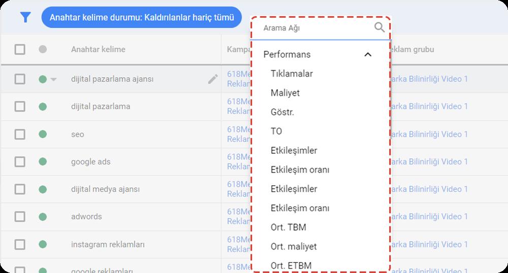 google ads arama terimleri filtreleri