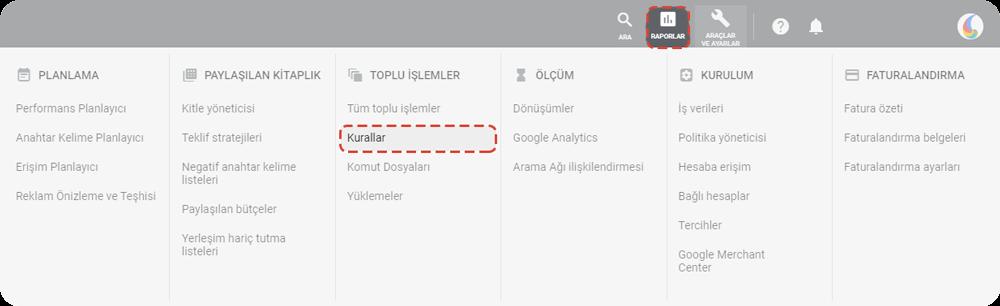 google ads Kontrol panelinde Kurallar oluşturma