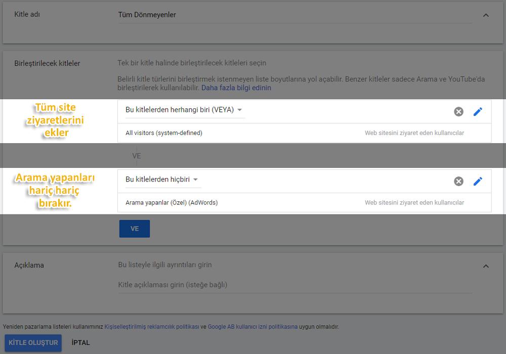 Google remarketing hedef kitleyi birleştirme