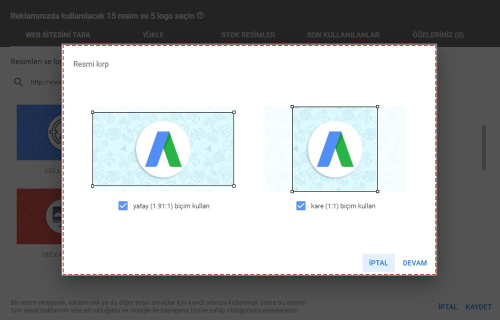 google remarketing görsel veya logo kırp