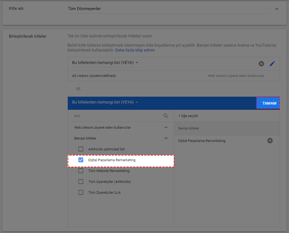 Google remarketing ikinci hedef kitle birleşimi