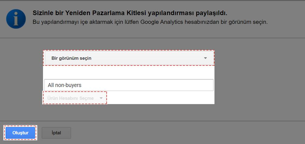 Google Remarketing Yeniden Pazarlama Kitlesi yapılandırması