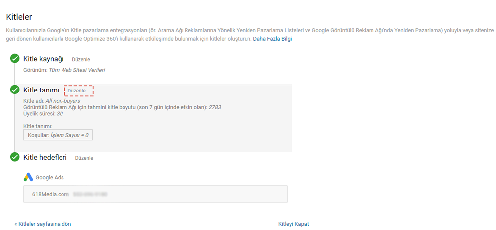 Google Remarketing Yeniden Pazarlama Kitle düzenle