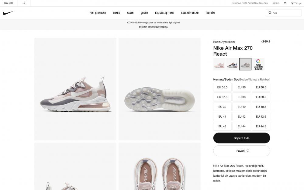 Nike ürün sayfası