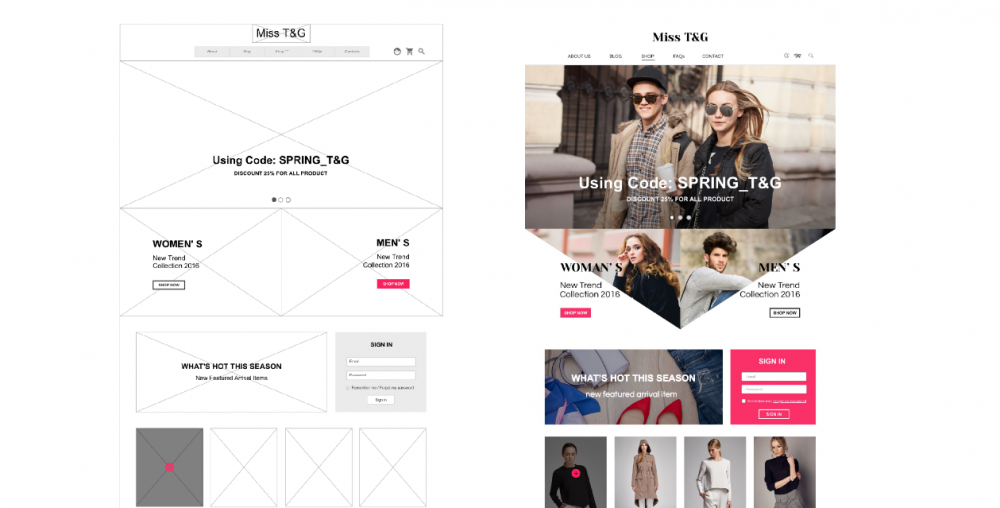 e-ticaret giyim anasayfa website tasarımı