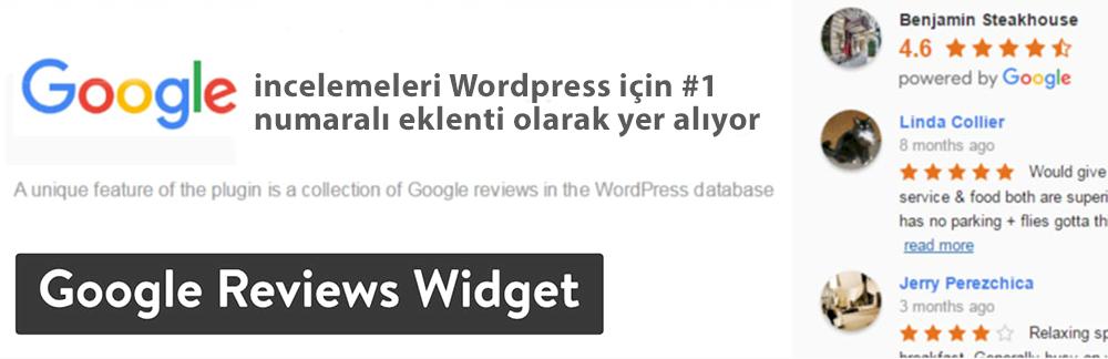 WordPress Yorum Eklentisi - Google İncelemeler Widget'ı