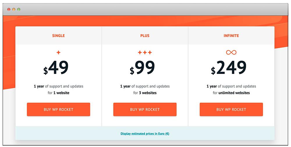 WP Rocket'in Fiyatlandırması